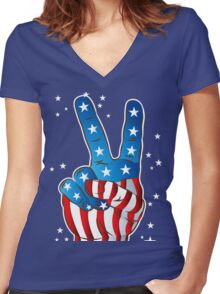 American Patriotic Victory Peace Hand Fingers Sign Women's Fitted V-Neck T-Shirt