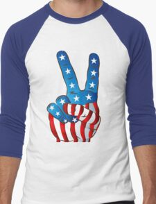 American Patriotic Victory Peace Hand Fingers Sign Men's Baseball ¾ T-Shirt