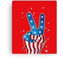 American Patriotic Victory Peace Hand Fingers Sign Canvas Print