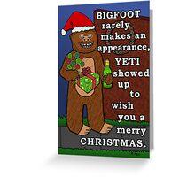 Funny Bigfoot Christmas Yeti Pun Cartoon Greeting Card