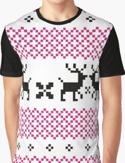 Cute reindeer pattern - black and pink Graphic T-Shirt