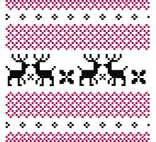 Cute reindeer pattern - black and pink Photographic Print