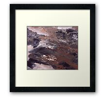 Abstract Acrylic Painting Brown, Black and White Framed Print