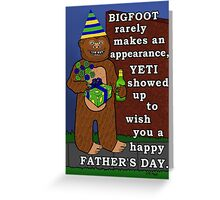 Funny Father's Day Bigfoot Yeti Pun for Dad Greeting Card