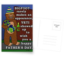 Funny Father's Day Bigfoot Yeti Pun for Dad Postcards