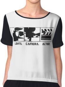 Lights.Camera.Action. Movie Maker T-Shirt Chiffon Top