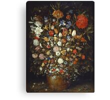 Jan Brueghel The Elder - Flowers In A Wooden Vessel 1606. Vintage Baroque oil famous painting : still life with flowers, flowers, peonies, roses, tulips, floral flora, wonderful flower. Canvas Print
