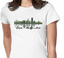 San Francisco California Skyline At Sundown Womens Fitted T-Shirt