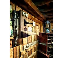 Old Fashioned Telephone in Office Photographic Print