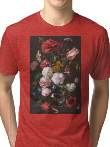Jan Davidsz De Heem - Still Life With Flowers In A Glass Vase. Still life with fruits and vegetables: fruit, vegetable, grapes, tasty, gastronomy food, flowers, dish, cooking, kitchen, vase Tri-blend T-Shirt