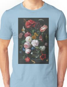 Jan Davidsz De Heem - Still Life With Flowers In A Glass Vase. Still life with fruits and vegetables: fruit, vegetable, grapes, tasty, gastronomy food, flowers, dish, cooking, kitchen, vase Unisex T-Shirt