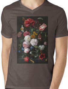 Jan Davidsz De Heem - Still Life With Flowers In A Glass Vase. Still life with fruits and vegetables: fruit, vegetable, grapes, tasty, gastronomy food, flowers, dish, cooking, kitchen, vase Mens V-Neck T-Shirt