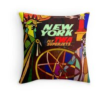 """TWA"" Fly to New York Travel Print Throw Pillow"
