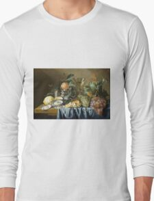 Jan Davidsz De Heem - Still Life With Oysters And Grapes. Still life with fruits and vegetables: fruit, vegetable, grapes, tasty, gastronomy food, flowers, dish, cooking, kitchen, vase Long Sleeve T-Shirt