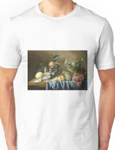 Jan Davidsz De Heem - Still Life With Oysters And Grapes. Still life with fruits and vegetables: fruit, vegetable, grapes, tasty, gastronomy food, flowers, dish, cooking, kitchen, vase Unisex T-Shirt