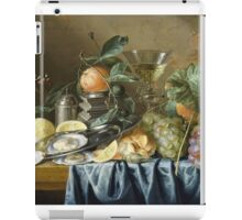 Jan Davidsz De Heem - Still Life With Oysters And Grapes. Still life with fruits and vegetables: fruit, vegetable, grapes, tasty, gastronomy food, flowers, dish, cooking, kitchen, vase iPad Case/Skin