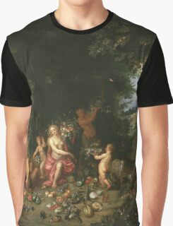 Jan Brueghel The Elder - Landscape With Ceres (Allegory Of Earth) 1630. Vintage Baroque oil famous painting : goddess Ceres, garden, floral flora, still life with fruits and vegetables, fruit . Graphic T-Shirt