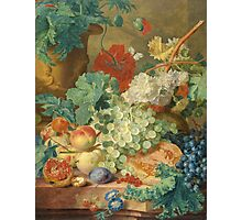 Jan Van Huysum - Still Life With Flowers And Fruit. Still life with fruits and vegetables: fruit, vegetable, grapes, tasty, gastronomy food, flowers, dish, cooking, kitchen, vase Photographic Print