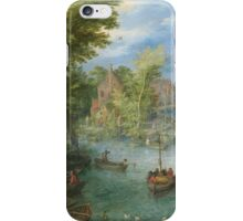 Jan Brueghel The Elder - River Landscape 1607. River landscape: trees, river, beach, bridge, riverside, waves and beach, marine naval navy, yachts and ships, sun and clouds, nautical panorama, lake iPhone Case/Skin