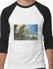 Jan Brueghel The Elder - River Landscape 1607. River landscape: trees, river, beach, bridge, riverside, waves and beach, marine naval navy, yachts and ships, sun and clouds, nautical panorama, lake Men's Baseball ¾ T-Shirt
