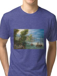 Jan Brueghel The Elder - River Landscape 1607. River landscape: trees, river, beach, bridge, riverside, waves and beach, marine naval navy, yachts and ships, sun and clouds, nautical panorama, lake Tri-blend T-Shirt