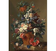 Jan Van Huysum - Vase Of Flowers. Still life with flowers: flowers, blossom, nature, botanical, floral flora, wonderful flower, plants, cute plant for kitchen interior, garden, vase Photographic Print
