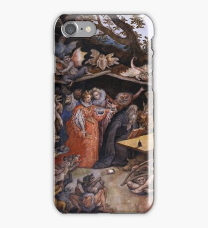 Jan Brueghel The Elder - Tentaciones De San Antonio Abad 1568. People portrait: party, woman and man, people, family, female and male, peasants, crowd, romance, women and men, city, home society iPhone Case/Skin