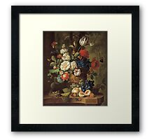 Jan Van Os - Flowers . Still life with flowers: still life with flowers, flowers, blossom, nature, botanical, floral flora, wonderful flower, plants, cute plant for kitchen interior, garden, vase Framed Print