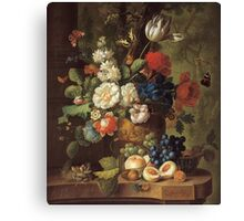 Jan Van Os - Flowers . Still life with flowers: still life with flowers, flowers, blossom, nature, botanical, floral flora, wonderful flower, plants, cute plant for kitchen interior, garden, vase Canvas Print