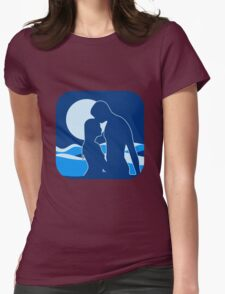 full moon romance liebespaar water swimming Womens Fitted T-Shirt