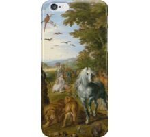 Jan Brueghel The Elder - The Entry Of The Animals Into Noah S Ark 1613. Animal portrait: cute cat, horse, race, man hobby, running, wild life, animal, racing mustang, hunt, cowboy, sport iPhone Case/Skin