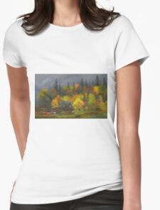 Jasper Francis Cropsey - Autumn Foliage. Forest view: forest view, trees, field, nature, botanical forestry, floral flora, wonderful flowers, plants, cute plant, garden, flowers Womens Fitted T-Shirt