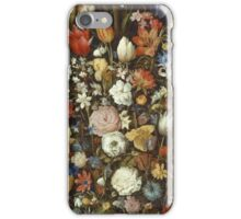 Jan Brueghel The Elder - Flowers In A Wooden Vessel 1606. Vintage Baroque oil famous painting : still life with flowers, flowers, peonies, roses, tulips, floral flora, wonderful flower. iPhone Case/Skin