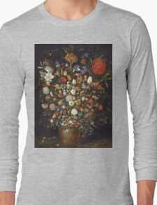 Jan Brueghel The Elder - Flowers In A Wooden Vessel 1606. Vintage Baroque oil famous painting : still life with flowers, flowers, peonies, roses, tulips, floral flora, wonderful flower. Long Sleeve T-Shirt