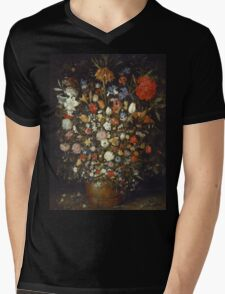 Jan Brueghel The Elder - Flowers In A Wooden Vessel 1606. Vintage Baroque oil famous painting : still life with flowers, flowers, peonies, roses, tulips, floral flora, wonderful flower. Mens V-Neck T-Shirt