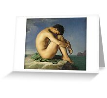 Jean Hippolyte Flandrin - Naked Young Man Sitting By The Sea. Man portrait: strong man, boy, male, beard, business suite, masculine, boyfriend, smile, manly, sexy men, mustache Greeting Card