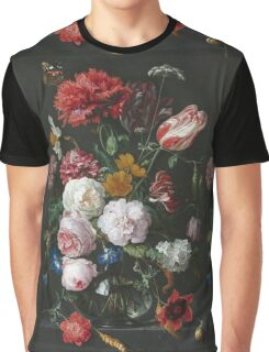 Jan Davidsz De Heem - Still Life With Flowers In A Glass Vase. Still life with fruits and vegetables: fruit, vegetable, grapes, tasty, gastronomy food, flowers, dish, cooking, kitchen, vase Graphic T-Shirt