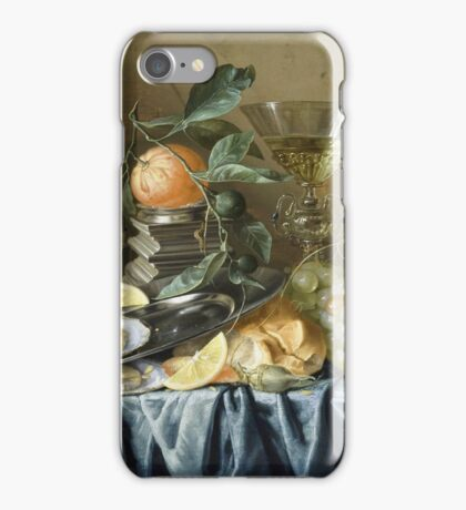 Jan Davidsz De Heem - Still Life With Oysters And Grapes. Still life with fruits and vegetables: fruit, vegetable, grapes, tasty, gastronomy food, flowers, dish, cooking, kitchen, vase iPhone Case/Skin
