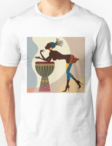 African woman with bongos Unisex T-Shirt