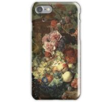 Jan Van Huysum - Fruit Piece. Still life with flowers: flowers, blossom, nature, botanical, floral flora, wonderful flower, plants, cute plant for kitchen interior, garden, vase iPhone Case/Skin