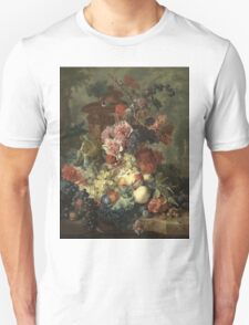 Jan Van Huysum - Fruit Piece. Still life with flowers: flowers, blossom, nature, botanical, floral flora, wonderful flower, plants, cute plant for kitchen interior, garden, vase Unisex T-Shirt