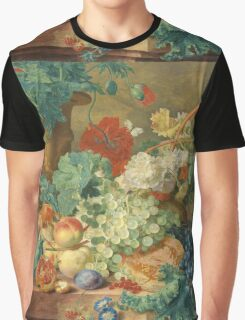 Jan Van Huysum - Still Life With Flowers And Fruit. Still life with fruits and vegetables: fruit, vegetable, grapes, tasty, gastronomy food, flowers, dish, cooking, kitchen, vase Graphic T-Shirt