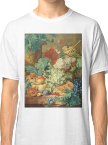 Jan Van Huysum - Still Life With Flowers And Fruit. Still life with fruits and vegetables: fruit, vegetable, grapes, tasty, gastronomy food, flowers, dish, cooking, kitchen, vase Classic T-Shirt