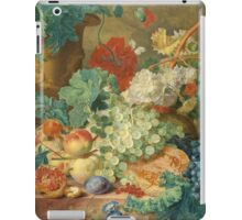 Jan Van Huysum - Still Life With Flowers And Fruit. Still life with fruits and vegetables: fruit, vegetable, grapes, tasty, gastronomy food, flowers, dish, cooking, kitchen, vase iPad Case/Skin