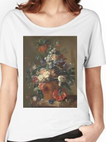 Jan Van Huysum - Vase Of Flowers. Still life with flowers: flowers, blossom, nature, botanical, floral flora, wonderful flower, plants, cute plant for kitchen interior, garden, vase Women's Relaxed Fit T-Shirt