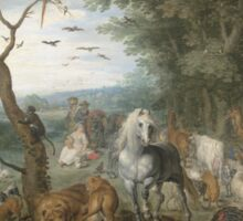 Jan Brueghel The Elder - Paradise Landscape With The Animals Entering Noah S Ark. Animal portrait: cute cat, horse, race, man hobby, running, wild life, animal, racing mustang, hunt, cowboy, sport Sticker