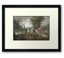 Jan Brueghel The Elder - Paradise Landscape With The Animals Entering Noah S Ark. Animal portrait: cute cat, horse, race, man hobby, running, wild life, animal, racing mustang, hunt, cowboy, sport Framed Print