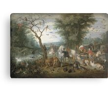 Jan Brueghel The Elder - Paradise Landscape With The Animals Entering Noah S Ark. Animal portrait: cute cat, horse, race, man hobby, running, wild life, animal, racing mustang, hunt, cowboy, sport Canvas Print