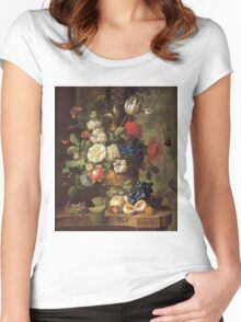 Jan Van Os - Flowers . Still life with flowers: still life with flowers, flowers, blossom, nature, botanical, floral flora, wonderful flower, plants, cute plant for kitchen interior, garden, vase Women's Fitted Scoop T-Shirt