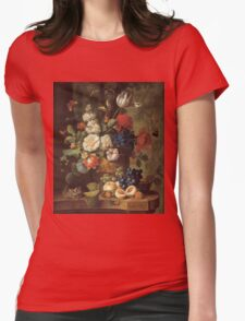 Jan Van Os - Flowers . Still life with flowers: still life with flowers, flowers, blossom, nature, botanical, floral flora, wonderful flower, plants, cute plant for kitchen interior, garden, vase Womens Fitted T-Shirt